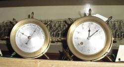 Brass Ship's Bell Clock with Matching Barometer
